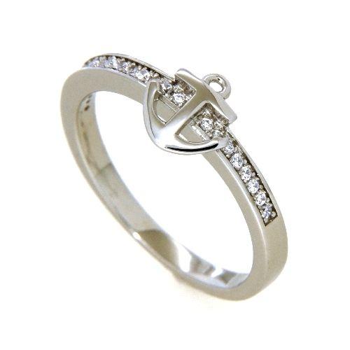 Ring Silber 925 rhodiniert Zirkonia Anker Weite 60