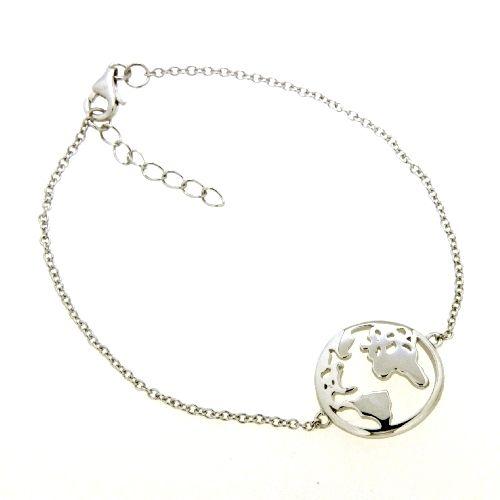 Armband Silber 925 rhodiniert 17+3 cm Weltkarte