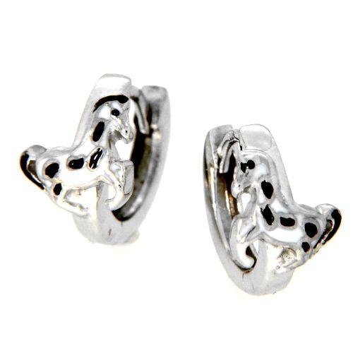 Scharniercreolen Silber 925 rhodiniert Pferd schwarz & weiß lackiert