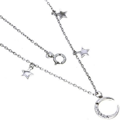 Kette mit Anhänger 925 rhodiniert 42 cm + 3 cm Mond und Sterne