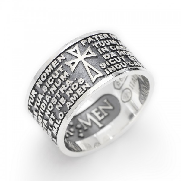 AMEN Ring Silber VATER UNSER Latein PNLAB925-12