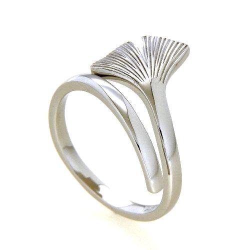 Ring Silber 925 rhodiniert Ginkgo Weite 54