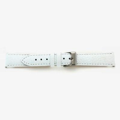 Uhrarmband Leder 18mm extralang (XL) weiß Edelstahlschließe