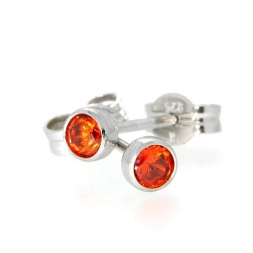 Ohrstecker Silber 925 Glas orange 3mm