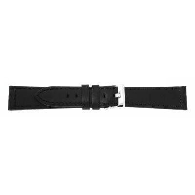 Uhrarmband Leder 18mm extralang (XL) schwarz Edelstahlschließe