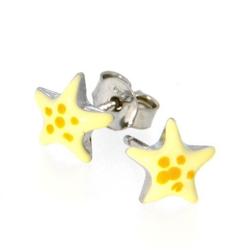 Ohrstecker Silber 925 rhodiniert Stern gelb