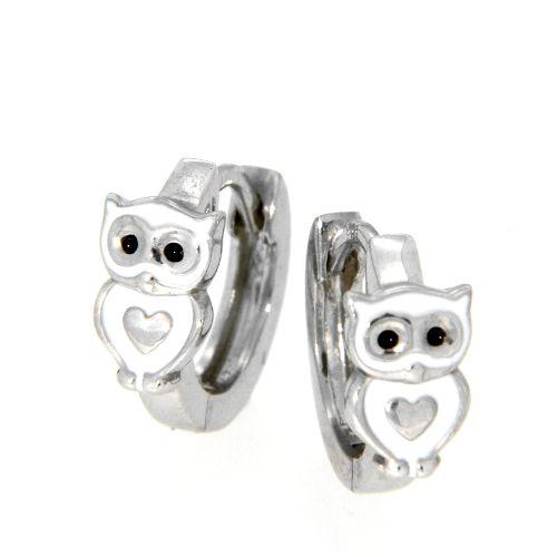 Scharniercreolen Silber 925 rhodiniert Eule weiß & schwarz