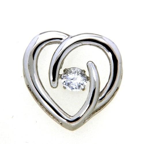 Herzanhänger Silber 925 rhodiniert Dancing Stone