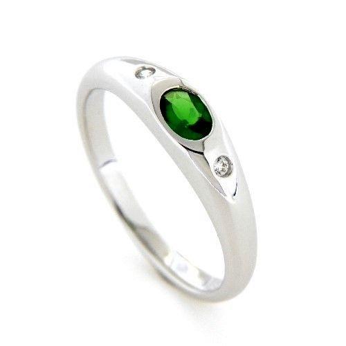 Ring Silber 925 rhodiniert Zirkonia und Zirkonia-smaragdfarben Weite 58