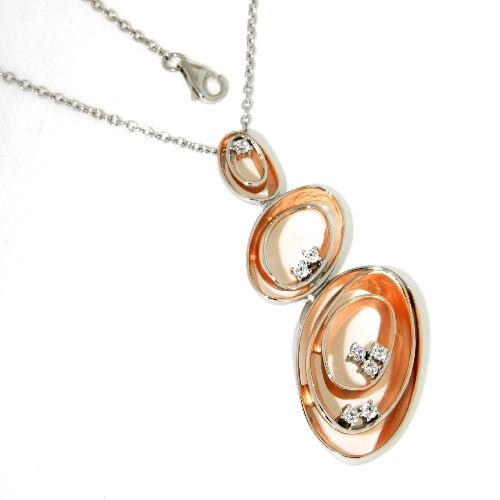 Collier Silber 925 rhodiniert & rosé vergoldet 40 cm + 2 cm