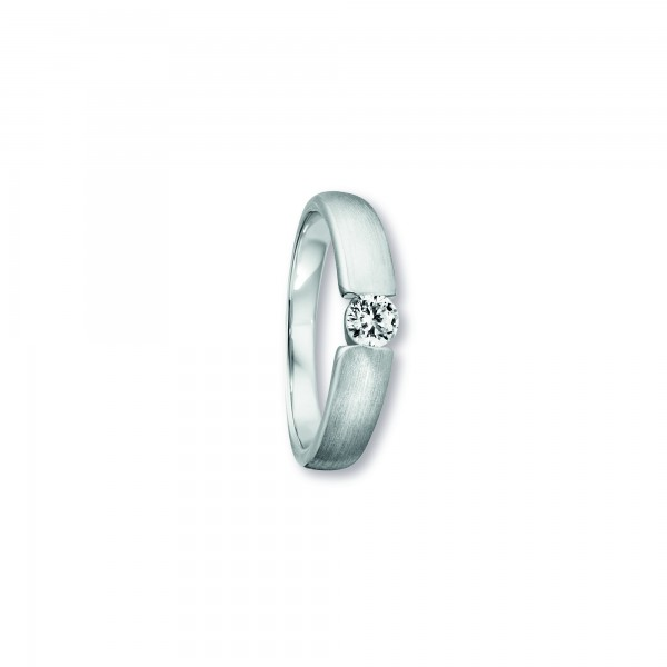 Ring Spannfassung Zirkonia 925 Silber rhodiniert Größe 52