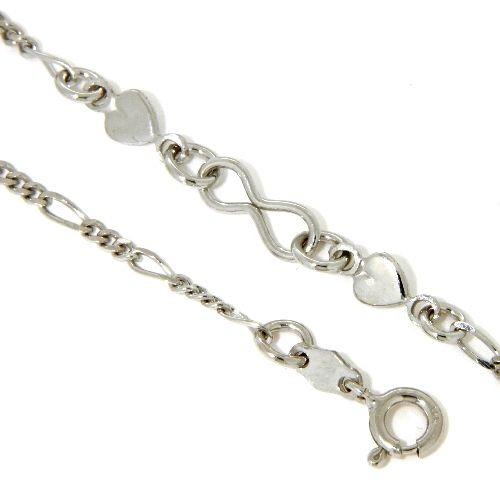 Fußkette Silber 925 rhodiniert 23 cm + 3 cm Herzen und Undendlichkeit