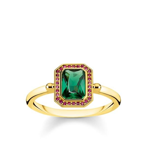 Thomas Sabo Ring rot und grüne Steine vergoldet Größe 60 TR2264-973-7-60