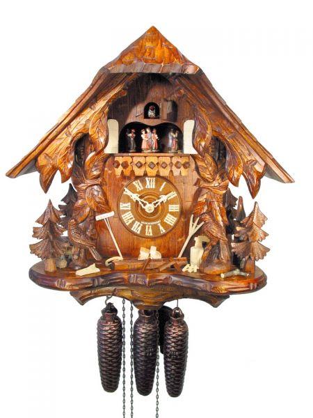 August Schwer Kuckucksuhr 8T Haus Ranken Vögel 42 cm 5.0472.01.P