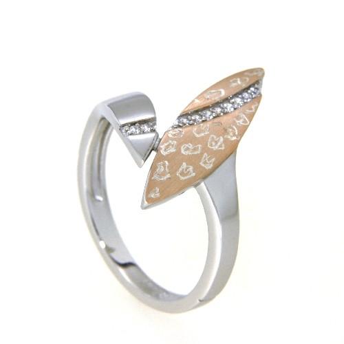 Ring Silber 925 rhodiniert & rosé vergoldet Weite 56