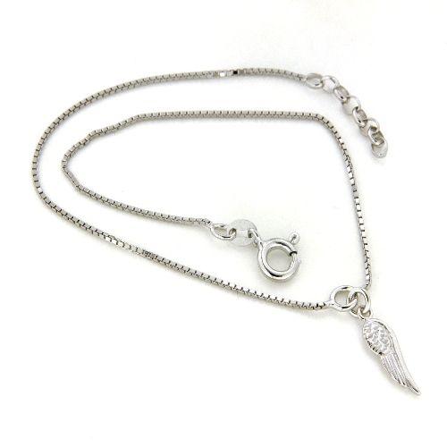 Fußkette Silber 925 rhodiniert 25 cm + 2 cm mit Flügel