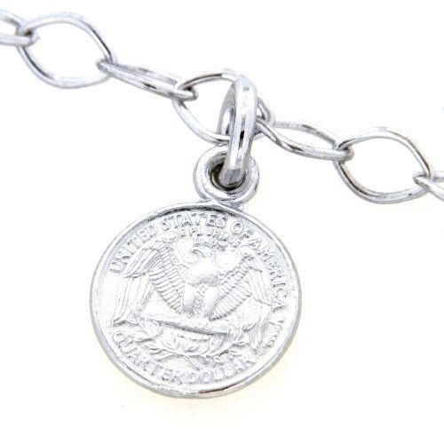 Armband Silber 925 rhodiniert 19 cm Münzen