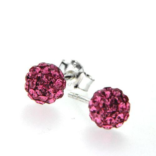 Ohrstecker Silber 925 Kugel Kristall pink