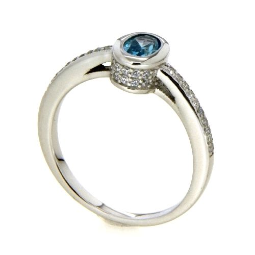 Ring Silber 925 rhodiniert Zirkonia weiß und hellblau Weite 60