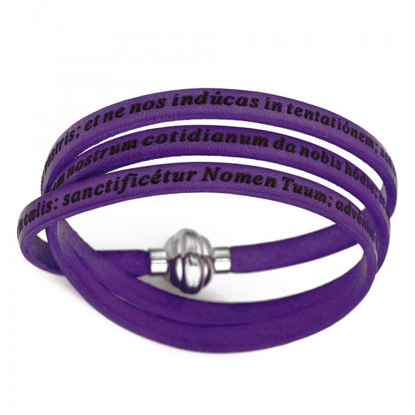 AMEN Armband 54 cm Leder lila VATER UNSER Latein PNLA09-54