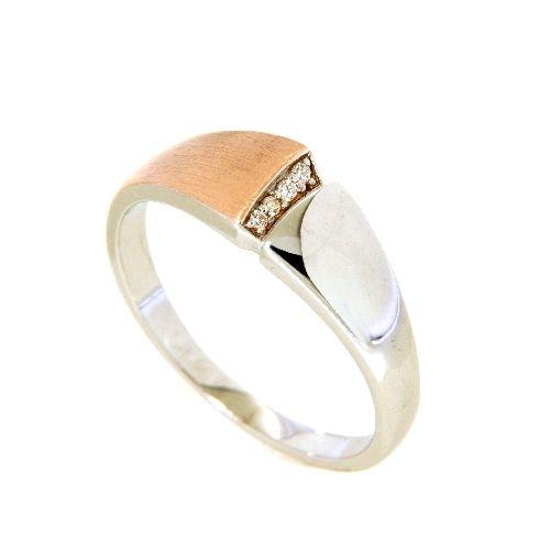 Ring Silber 925 rhodiniert und rosé vergoldet Weite 54 Zirkonia