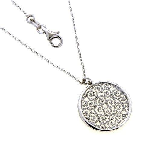 Kette Silber 925 rhodiniert 42 cm + 3 cm Lebensblume