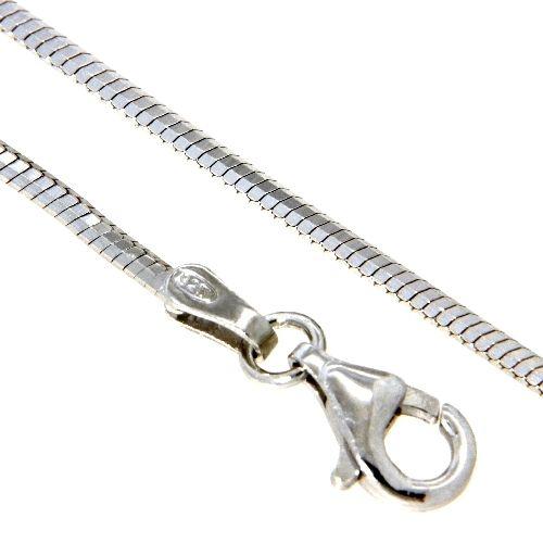 Schlangenkette Silber 925 rhodiniert 1,3mm 8-kantig 40 cm