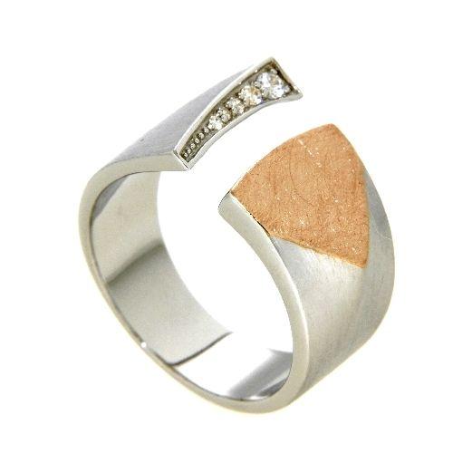Ring Silber 925 rhodiniert und rosé vergoldet Weite 58 Zirkonia