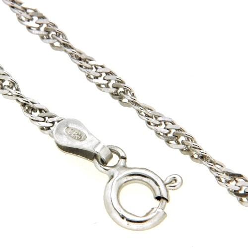 Singapurfußkette (S40) Silber 925 rhodiniert 23-25 cm