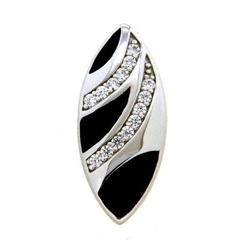 Anhänger Silber 925 rhodiniert Zirkonia und Emaille schwarz