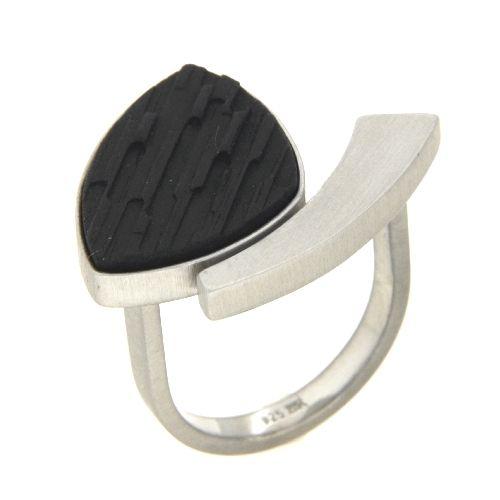 Ring Silber 925 rhodiniert Ebenholz Weite 56