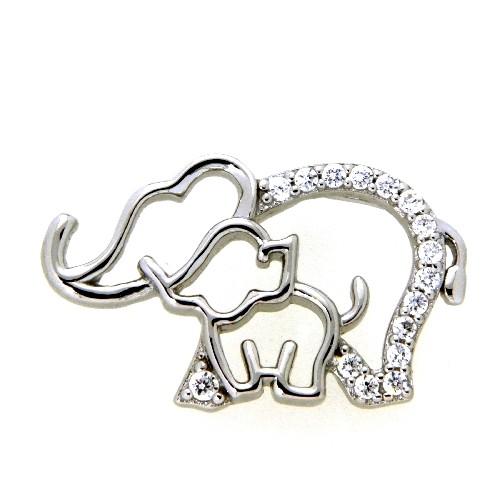 Anhänger Silber 925 rhodiniert Elefant mit Elefantenkind