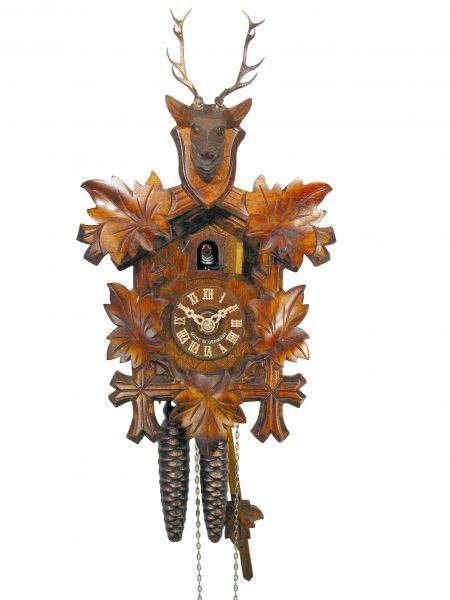 August Schwer Kuckucksuhr 1T 5-Laub Hirschkopf 25 cm 1.0021.01.C