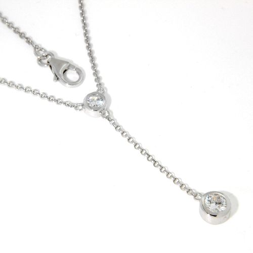 Y-Collier Silber 925 rhodiniert 42 cm + 3 cm