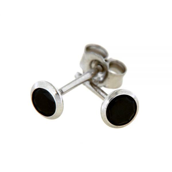 Ohrstecker Silber 925 rhodiniert Zirkonia schwarz 4 mm