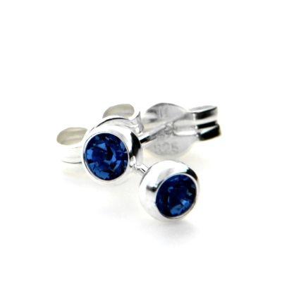 Ohrstecker Silber 925 Glas dunkelblau 3mm