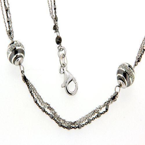 Kette Silber 925 rhodiniert & teilweise schwarz rhodiniert