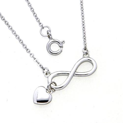 Kette Silber 925 rhodiniert 42 + 3 cm unendlich mit Herz