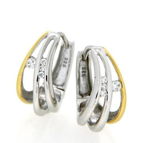 Scharniercreolen Silber 925 rhodiniert vergoldet
