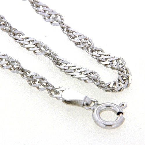 Singapurfußkette (S50) Silber 925 rhodiniert 23-25 cm