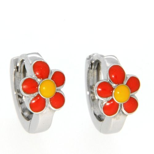 Scharniercreolen Silber 925 Blume orange/gelb