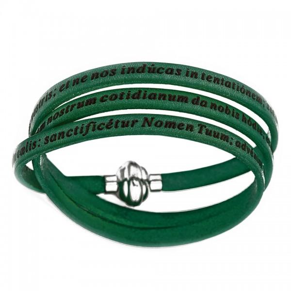 AMEN Armband 57 cm Leder grün VATER UNSER Latein PNLA03-57