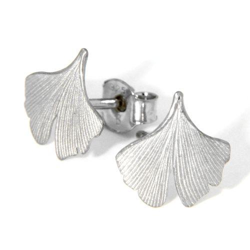 Ohrstecker Silber 925 rhodiniert Ginkgoblatt