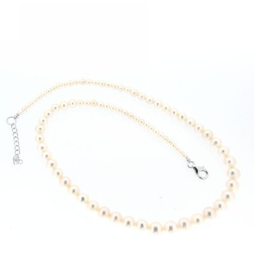 Süßwasser-Perlenkette 43 cm + 3 cm verlaufend