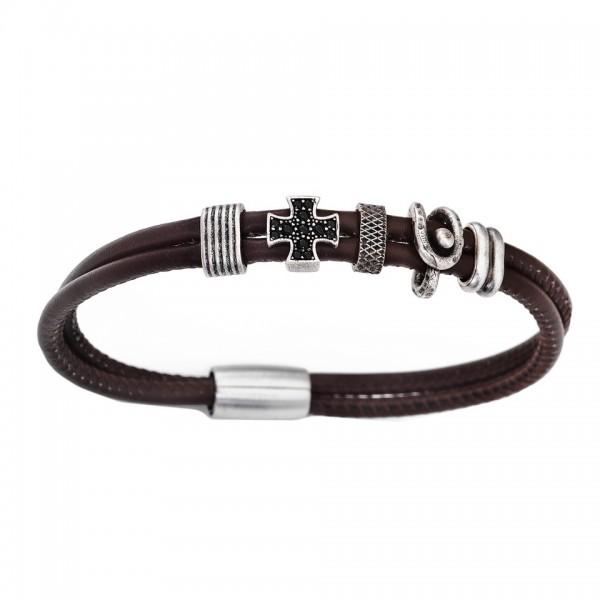 AMEN Armband 19,5 cm Leder BR205-M