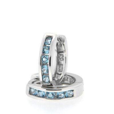 Scharniercreolen Silber 925 rhodiniert Zirkonia hellblau