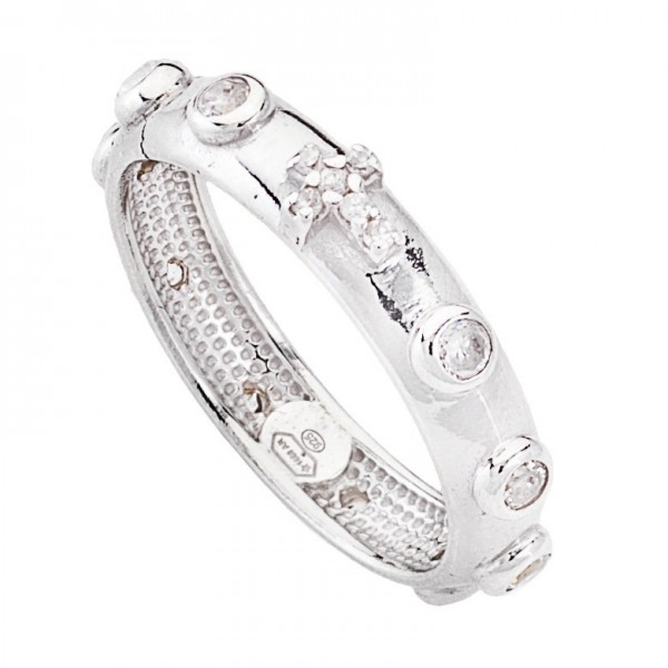 AMEN Ring Silber Kreuz Rosenkranz Gr. 50 AROBB-10